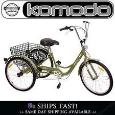Adult Tricycle Trike Bike 24in 6-speed Shimano PLATOON/ARMY GREEN