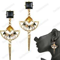 EGYPTIAN REVIVAL art deco GOLD FASHION EARRINGS vintage style CHANDELIER SPIKE
