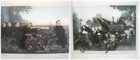 Set 2 Limited Edition Catholic Nun & Priest Bicycle Drawing Painting Art Signed