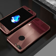 360° Full Body Mirror Case Cover + Tempered Glass For iPhone SE 6s 7 8 Plus S001