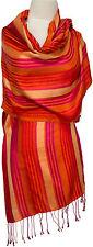 Schal Rot Orange Pink 100% Seide, silk stole scarf Streifen stripes