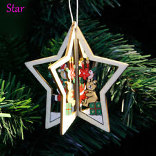 2pc Fashion 3d Wooden Christmas Home Party Hanging Pendants for Xmas Tree Decor Star