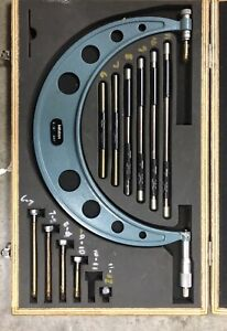 """MITUTOYO 6-12""""  OUTSIDE MICROMETER SET WITH INTERCHANGEABLE ANVILS"""