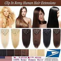 Full Head Remy Human Hair Clip In Real Human Hair Extensions Black Brown Blonde