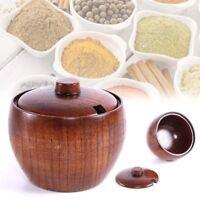 Wood Spice Jar Seasoning Box Salt Sugar Spoon Kitchen Condiment Bowl Storage Lid