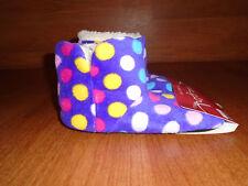 New Womens Size 5 6 Luxe Girl Purple Polka Dot Slipper Boots Slip On @