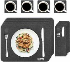 Nuovoware Washable Kitchen Table Dining Felt Place Mats Pads Coasters Set for 4