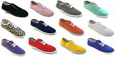 Womens Girls Canvas Plimsoll Shoes Sneakers lace Up Sizes 5-11 15 Colors