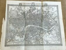 ANTIQUE MAP OF LONDON & ITS ENVIRONS 1840 FROM LEWIS'S TOPOGRAPHICAL DICTIONARY