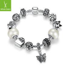 TOP Sales Friendship Charm Bracelet Fit Women&Girl White Glass Beads Jewelry