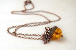 Amber and Copper Acorn Necklace   Nature Jewelry   Fall Acorn Charm Necklace
