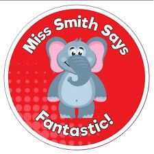 80 Personalised Teacher Reward Stickers for Pupils red elephant well done