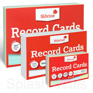 Silvine Revision Index Flash Record Cards - Plain Ruled Colours - Packs of 100