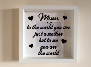 Box Frame Vinyl Decal Sticker Wall art Quote Mum to the world you are just FB