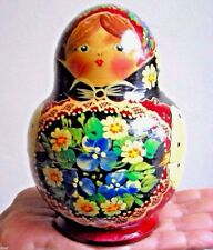 Old Russian Traditional Hand Painted Wooden Nesting Doll Set Of Ten