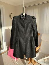 Zara Basic Boucle Black Pleated Evening Winter Coat.Size S.VGC.