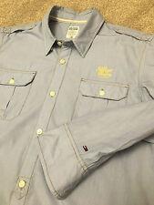 Splendido Tommy Hilfiger Denim Baby Blu Stile Militare Camicia L Large costo £ 95