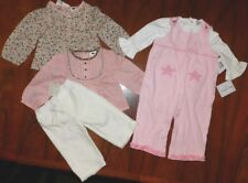 Baby Girl Gift Set 5pc 3-Outfits Overalls Tops Pants Girl size 6-12 month New