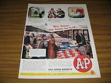 1945 Print Ad A&P Supermarkets Customers in Grocery Store Buy Food