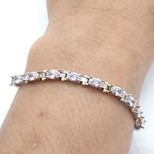 Deco 10.30ctw Pink Tourmaline 14K Yellow Gold 925 Sterling Silver Bracelet 10.6g