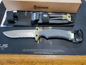 GERBER ULTIMATE FB SURVIVAL KNIFE W/SHEATH, FIRE STARTER, SHARPENING STONE NIB