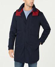 01b7bf09 $340 TOMMY HILFIGER Men's MODERN FIT BLUE HOODED RAINCOAT JACKET BUTTON  COAT 36S