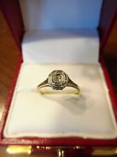 Antique Art Deco Vintage Diamond 14K White Gold Filigree Engagement Ring (316)