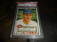 1952 TOPPS #249 BOBBY ADAMS CINCINNATI REDS SIGNED CARD REDS PSA/DNA  D.1987