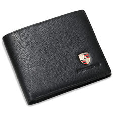 911 Black Bifold Wallet Supple Genuine Leather with 6 Credit Card ID Holder Men
