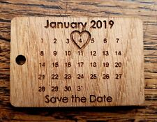 Laser Cut Engraved Oak or MDF, Acrylic - Save The Date Personalised Keyring Gift