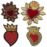 Heart Embroidered Iron On Sew On Patches Badge Bag Fabric Applique DIY Craft FG