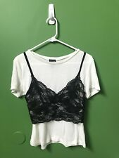 Lady Women Cute sexy Short Sleeve Blouse T-Shirt With Cropped Bralettes M
