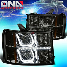 FOR GMC SIERRA 2007-2014 DUAL HALO PROJECTOR LED/DRL BAR SMOKED/AMBER HEADLIGHTS