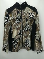 Susan Graver Weekend Printed French Terry Zip Front Jacket Neutral S A279788
