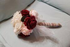 Bridal Bouquet, Cream,Rose & Wine Color Roses