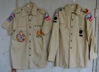 Vintage Lot of 2 Adult Boy Scouts Of America BSA Uniform M Shirt W/ Patches 80s