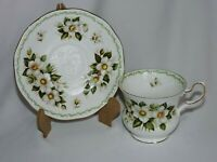 Rosina Queens Footed Tea Cup Saucer Set Christmas Rose December Special Flower
