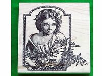 Rubber Stamp Victorian Flower Girl Magenta 17049R Large