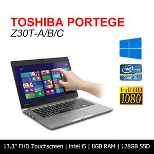 "Toshiba Portege Z30T intel Core i5 8GB 128GB SSD 13.3"" Touchscreen Laptop Win10"