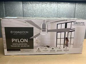 Pylon 48-in Brushed nickel LED Indoor Smart Ceiling Fan (3-Blade)