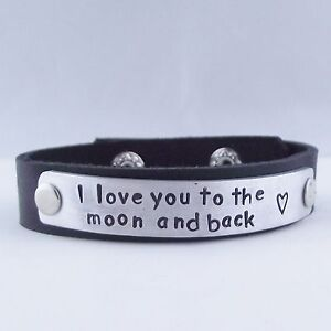 "Fab Handmade Personalised Message ""I love you..."" Real Leather Cuff Bracelet"