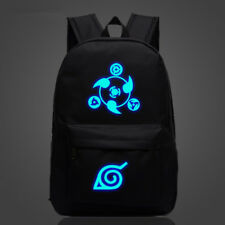 Anime Naruto Luminous Logo Backpack Black Shoulder Bag Laptop Book School Bag