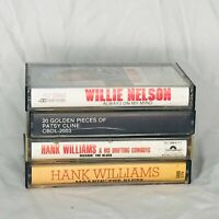 Lot of 4 Country Music Cassette Tapes Patsy Cline Hank Williams Willie Nelson