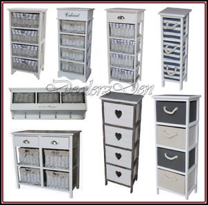 Wicker Basket Drawer Hallway Furniture Cabinet Storage Chest Cupboard Kitchen