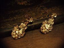 Crystal Drop Pierced Earrings Vintage Pearl & Oval