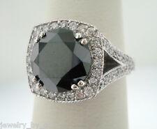 4.14 CARAT ENHANCED BLACK DIAMOND UNIQUE COCKTAIL RING 14K WHIE GOLD