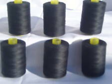 6 BLACK 100% PURE SEWING COTTON THREAD 1000 Yards EACH