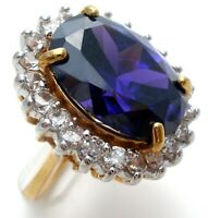 Purple & Clear CZ Halo Ring Amethyst Cubic Zirconia Size 6 Gold Plated Jewelry