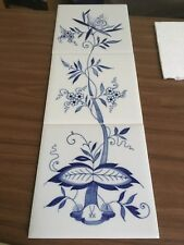 Meissener Porzellan - Wandfliesen handgemalt - Neues Zwiebelmuster- 3er Dekorset