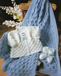 Baby DK Knitting Pattern Matinee Cardigan, Shawl  Set  Sizes 14 - 20  inches #05